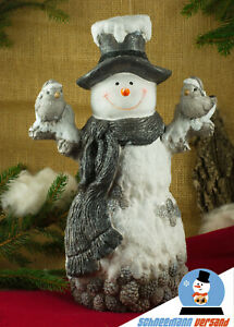 Riesen Schneemann Christoph mit Piepmatz 50cm Figur Weihnachten Winter Deko NEU