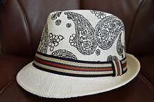 Men's Cuban Style Fedora Trilby Hat Panama Short Brim Cap Sunhat White Pattern