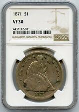 1871 $1 Seated Liberty Silver Dollar NGC VF 30