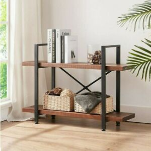 Solid Wood Bookshelf, Two Tier Rustic Vintage Bookcase, Open Metal Farmhouse