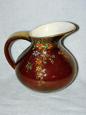 Crown Devon 1930s  Rouge Royale Pitcher - Multicolored Enamel Flower Drape