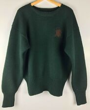 POLO Ralph Lauren Mens Sweater 100% Wool Green Large Logo Medium