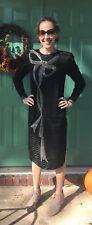 Lillie Rubin VTG Beaded Black Silk Holiday Dress Silver Bow Design NYE Size 6