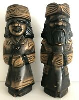 "Vintage Japanese Carved Wooden Nipopo Man & Woman Statues/Figurines 14.5"" Tall"