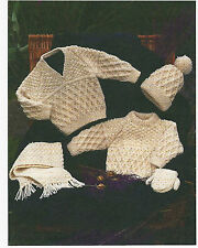 "#62 Aran Baby Boy Girl 16-30"" Sweaters Mitts Hat & Scarf Vint Knitting Pattern"