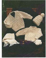 "#62 Aran Baby Boy Girl 16-30"" Sweaters Mitts Hat & Scarf Vint Knitting Pattern"