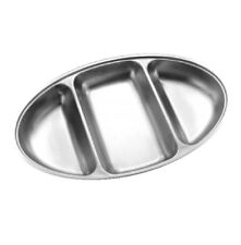 """Oval 14"""" Divided Vegetable Dish Stainless Steel Serving Buffet Functions 3 Side"""