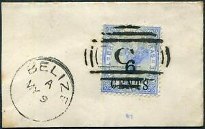 BRITISH HONDURAS-1891 6c on 3d Ultramarine on piece Sg 39 FINE USED V48342