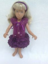 Party dress for Vintage Sasha dolls ruffle skirt with linen body and headband