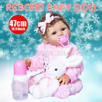 19'' Reborn Baby Dolls Handmade Full Body Soft Vinyl Silicone Newborn Girl Toy
