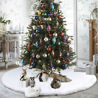 48'' White Plush Christmas Tree Skirt Stand Apron Ornaments Party Home Decor US
