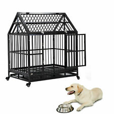 """50"""" Dog Cage Crate Kennel Pet Playpen Extension House Heavy Duty W/ Feeder Black"""