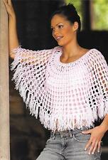 """Vintage Crochet Pattern Womens Poncho Festival Hippy Retro Easy, 400g DK 30-40"""""""