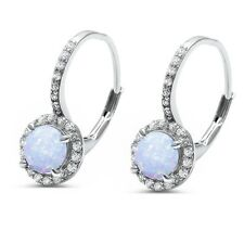 Round White Opal & Cz .925 Sterling Silver Earrings