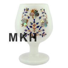 Marble Inlay Wine Glass Set Goblets Gemstone Whisky Glasses Pietra Dura Vintage