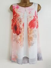 NEW Ex Wall*s 10-20 Pink White Floral Print Overlayered Chiffon Tunic Top Blouse