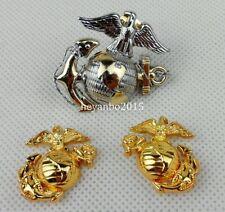 SET US NAVY MARINE CORPS OFFICER CAP BADGE & USMC COLLAR ISIGNINA BADGE PIN