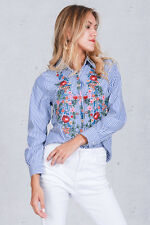 Blue White Stripe Floral Embroidered Blouse Top Shirt Bloggers Favhot Womens S