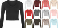 Womens New Stretch Short Plain V Neck Long Sleeve T-Shirt Ladies Crop Top 8-14