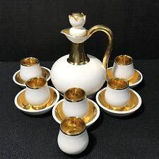 Bayer Pottery Belgium Belgian Cordial Liquor Set Gold Trim Vintage