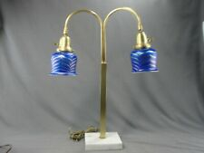 Vintage Mcm Deco Era Brass Marble Double Table Lamp Pulled Feather Glass Shades