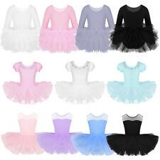 Girls Ballet Dance Tutu Dress Leotard Layered Skirt Dancewear performing Costume