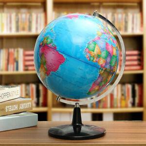 32CM Metal Rotating Earth Globe World Map Swivel Stand Geography
