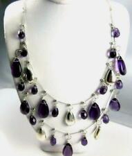 Coldwater Creek Purple Amethyst & Silver colors Teardrop Necklace