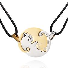 Partnerkette Katzen Yin und Yang Puzzel Edelstahl 2 Partner Anhänger Katze Kette