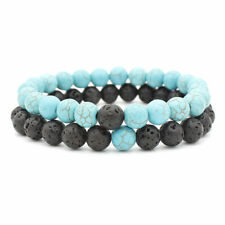 Natural Handmade 8MM Turquois Lava Stone Couple Round Bead Bracelet Men Woman UK