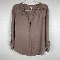 Joie Long Sleeve Brown Silk Button Front Blouse Women's Small Collarless V-Neck