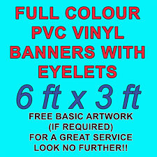 6ft x 3ft PVC VINYL BANNERS 4 OUTDOOR SIGN PVC BANNERS ADVERTISING *FREE DESIGN*