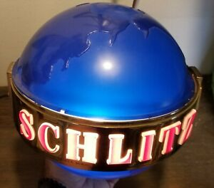 Rare 1950's Schlitz Spinning Blue Globe Beer Lighted Wall Sconce Sign Rotating