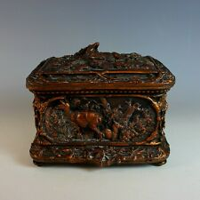 Antique Repousse Dresser Box, Hunting Theme
