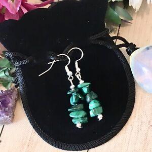 Malachite crystal earrings chakra healing 925 silver Reiki immune system boho 💚