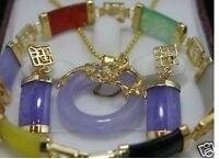 Jewelry 18K GP Purple Jade pendant bracelet earring set