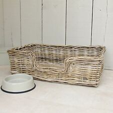 Wicker Dog Bed Basket Country Style SMALL  W 59cm x D 40cm TBS23007S