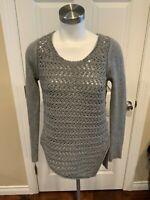 Helmut Lang Gray Wool Open Knit Asymmetrical Sweater, Size Small