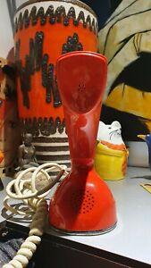 Vintage Ericsson Red/orange Cobra Phone Made In Sweden RETRO dial phone