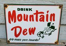 OLD VINTAGE HILLBILLY MOUNTAIN DEW PORCELAIN ADVERTISING SIGN SODA POP BEVERAGE