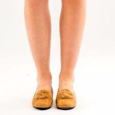 NEU Damen Damen Flache Dolly Hausschuhe Halbschuhe Slipper Pumps Pom Pom Schuhe Größe