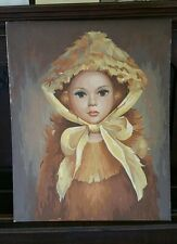 """VINTAGE PAINT BY NUMBER ACRILIC """"YELLOW BONNET"""" BY CRAFTMASTER MP-605 YOUNG GIRL"""