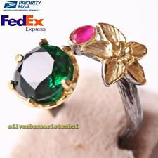 Turkish 925 Sterling Silver Flower Emerald and Ruby Stone Ladies Womans Ring