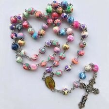 Hot Color Pearl Rosary Beads Necklace Catholic Rosary Beads