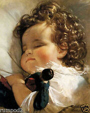 Vintage French Painting/Poster /Art Print/ 'Baby Sleeping'/16x20