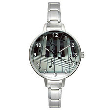 Playing Piano Music Notes Stainless Steel Italian Charm Mens Ladies Watch BM849