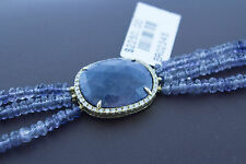 14K Yellow Gold Natural Blue Sapphire Slice Lolite Beads and Diamonds Bracelet
