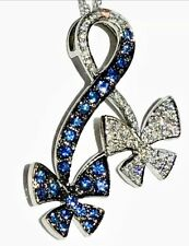18K White Gold Royal Blue Sapphire Diamond Butterfly Pendant on Chain Necklace
