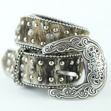 Flaw Nocona Calf Hair Rhinestone Belt Girls 22 Silver Tone Buckle Cowgirl