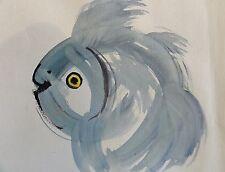 Beng/y con caracteres de fuente firmado-acuarela 2001: pez asiático